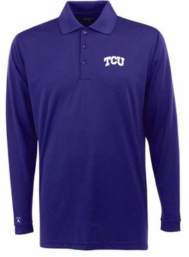TCU Mens Long Sleeve Polo Shirt (Team Color: Purple)