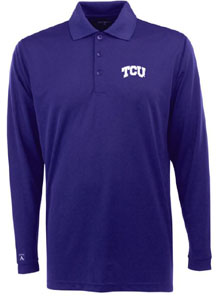 TCU Mens Long Sleeve Polo Shirt (Color: Purple) - Small