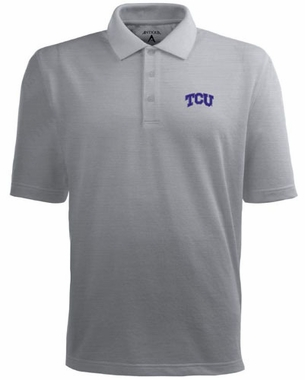 TCU Mens Pique Xtra Lite Polo Shirt (Color: Gray)