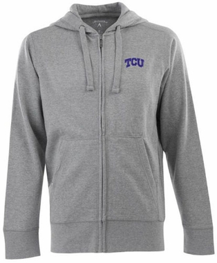 TCU Mens Signature Full Zip Hooded Sweatshirt (Color: Gray)