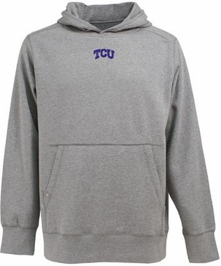 TCU Mens Signature Hooded Sweatshirt (Color: Gray)