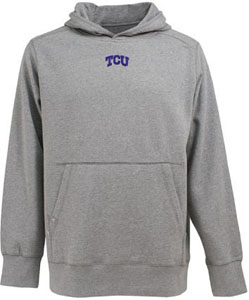 TCU Mens Signature Hooded Sweatshirt (Color: Gray) - Medium
