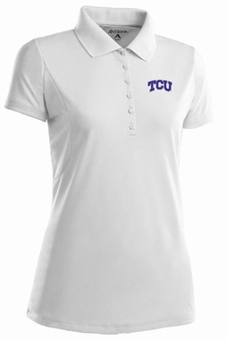 TCU Womens Pique Xtra Lite Polo Shirt (Color: White)