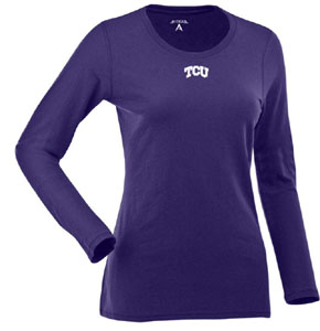TCU Womens Relax Long Sleeve Tee (Team Color: Purple) - Medium