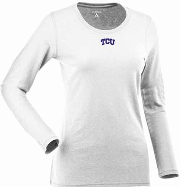 TCU Womens Relax Long Sleeve Tee (Color: White)