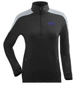 TCU Womens Succeed 1/4 Zip Performance Pullover (Team Color: Black) - Small