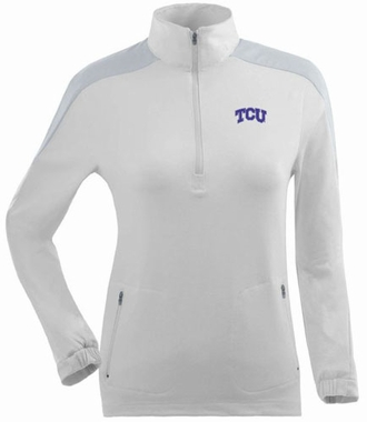TCU Womens Succeed 1/4 Zip Performance Pullover (Color: White)