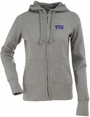 TCU Womens Zip Front Hoody Sweatshirt (Color: Gray)