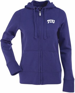 TCU Womens Zip Front Hoody Sweatshirt (Color: Purple)