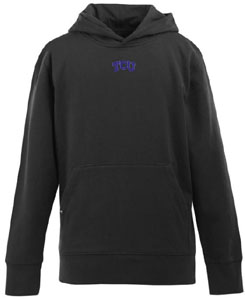 TCU YOUTH Boys Signature Hooded Sweatshirt (Color: Black) - X-Small