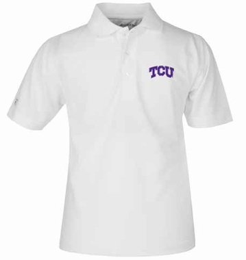 TCU YOUTH Unisex Pique Polo Shirt (Color: White)