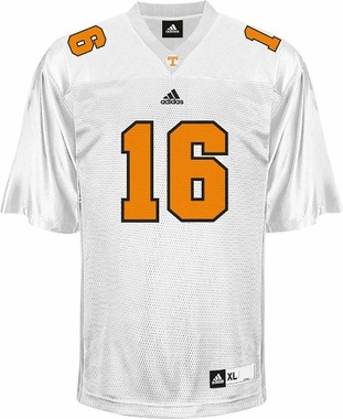 Tennessee #16 Adidas Replica Football Jersey (White)