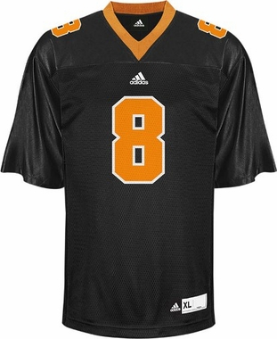 Tennessee #8 Adidas Replica Football Jersey (Black)