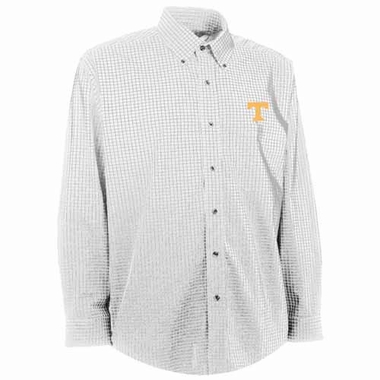 Tennessee Mens Esteem Check Pattern Button Down Dress Shirt (Color: White)