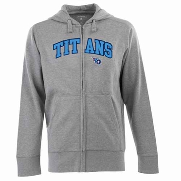 Tennessee Titans Mens Applique Full Zip Hooded Sweatshirt (Color: Gray)
