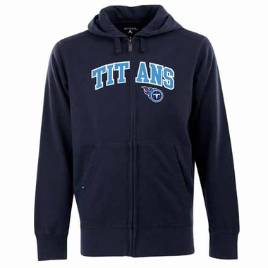 Tennessee Titans Mens Applique Full Zip Hooded Sweatshirt (Color: Navy)