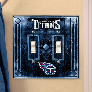 Tennessee Titans Art Glass Lightswitch Cover (Double)