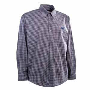 Tennessee Titans Mens Esteem Check Pattern Button Down Dress Shirt (Team Color: Navy) - Small