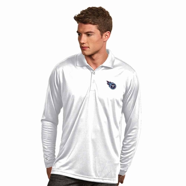 Tennessee Titans Mens Long Sleeve Polo Shirt (Color: White) - Small