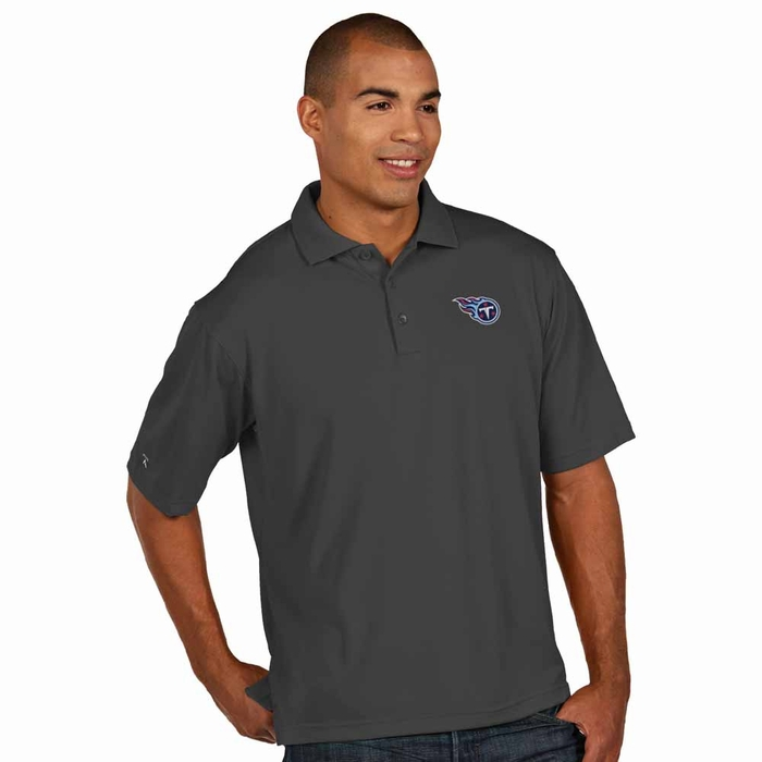 Tennessee Titans Mens Pique Xtra Lite Polo Shirt (Color: Smoke)