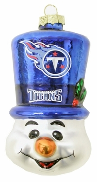 Tennessee Titans Tophat Snowman Glass Ornament