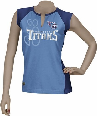 Tennessee Titans Two-Toned Split Neck T-Shirt