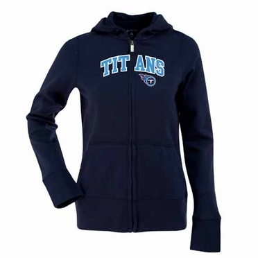 Tennessee Titans Applique Womens Zip Front Hoody Sweatshirt (Team Color: Navy)