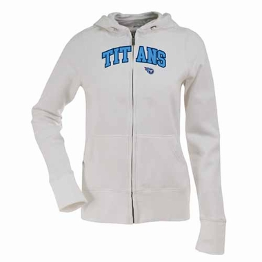 Tennessee Titans Applique Womens Zip Front Hoody Sweatshirt (Color: White)