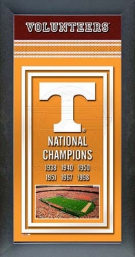 Tennessee Volunteers Framed Championship Banner