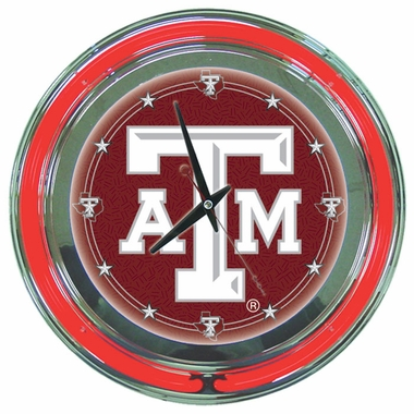 Texas A&M 14 Inch Neon Clock