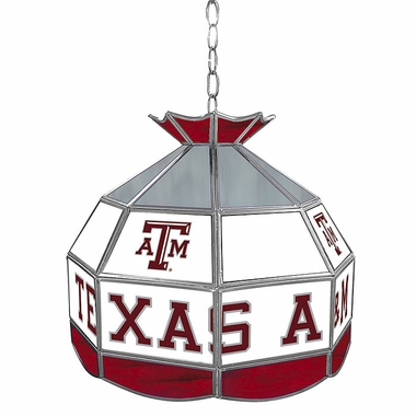 Texas A&M 16 Inch Diameter Stained Glass Pub Light