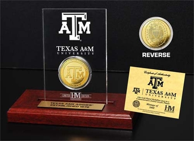 Texas A&M Aggies Texas A&M 24KT Gold Coin Etched Acrylic