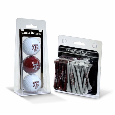 Texas A&M 3 Golf Balls And 50 Golf Tees