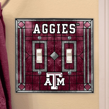 Texas A&M Art Glass Lightswitch Cover (Double)