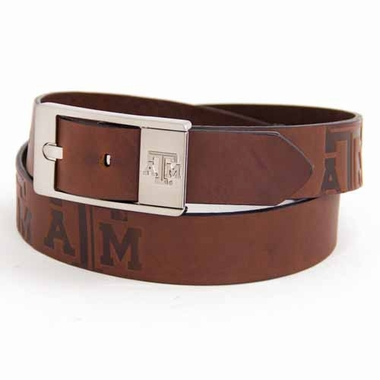 Texas A&M Brown Leather Brandished Belt