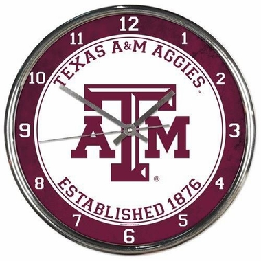 Texas A&M Aggies Round Chrome Wall Clock