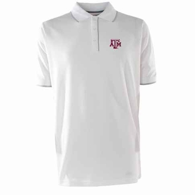 Texas A&M Mens Elite Polo Shirt (Color: White)