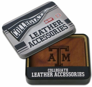 Texas A&M Embossed Leather Bifold Wallet