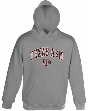 Texas A&M Embroidered Hooded Sweatshirt (Grey)