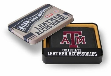 Texas A&M Embroidered Leather Bi-Fold Wallet