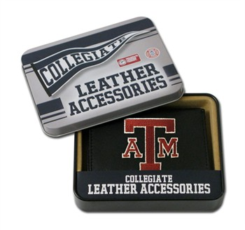 Texas A&M Embroidered Leather Tri-Fold Wallet