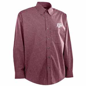 Texas A&M Mens Esteem Check Pattern Button Down Dress Shirt (Team Color: Maroon) - Large
