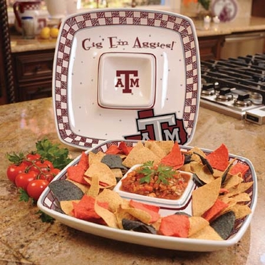 Texas A&M Gameday Ceramic Chip and Dip Platter