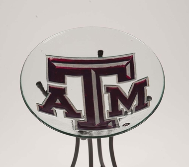 Texas A&M Glass Bird Bath