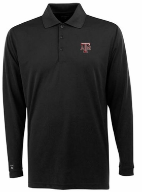 Texas A&M Mens Long Sleeve Polo Shirt (Color: Black)