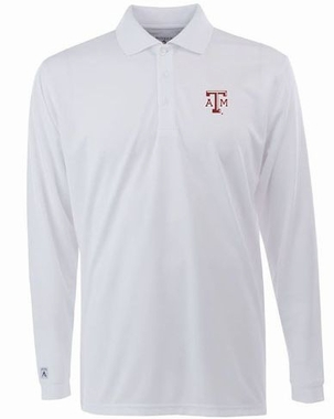 Texas A&M Mens Long Sleeve Polo Shirt (Color: White)