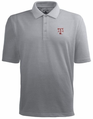 Texas A&M Mens Pique Xtra Lite Polo Shirt (Color: Gray)