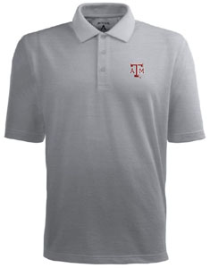 Texas A&M Mens Pique Xtra Lite Polo Shirt (Color: Gray) - Large