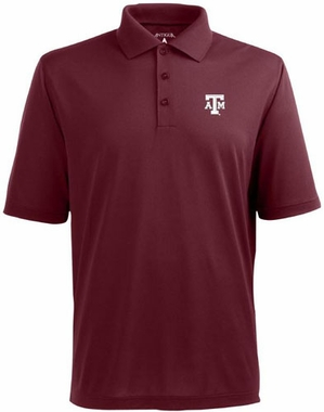 Texas A&M Mens Pique Xtra Lite Polo Shirt (Team Color: Maroon)