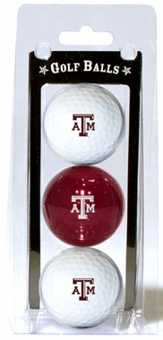 Texas A&M Set of 3 Multicolor Golf Balls